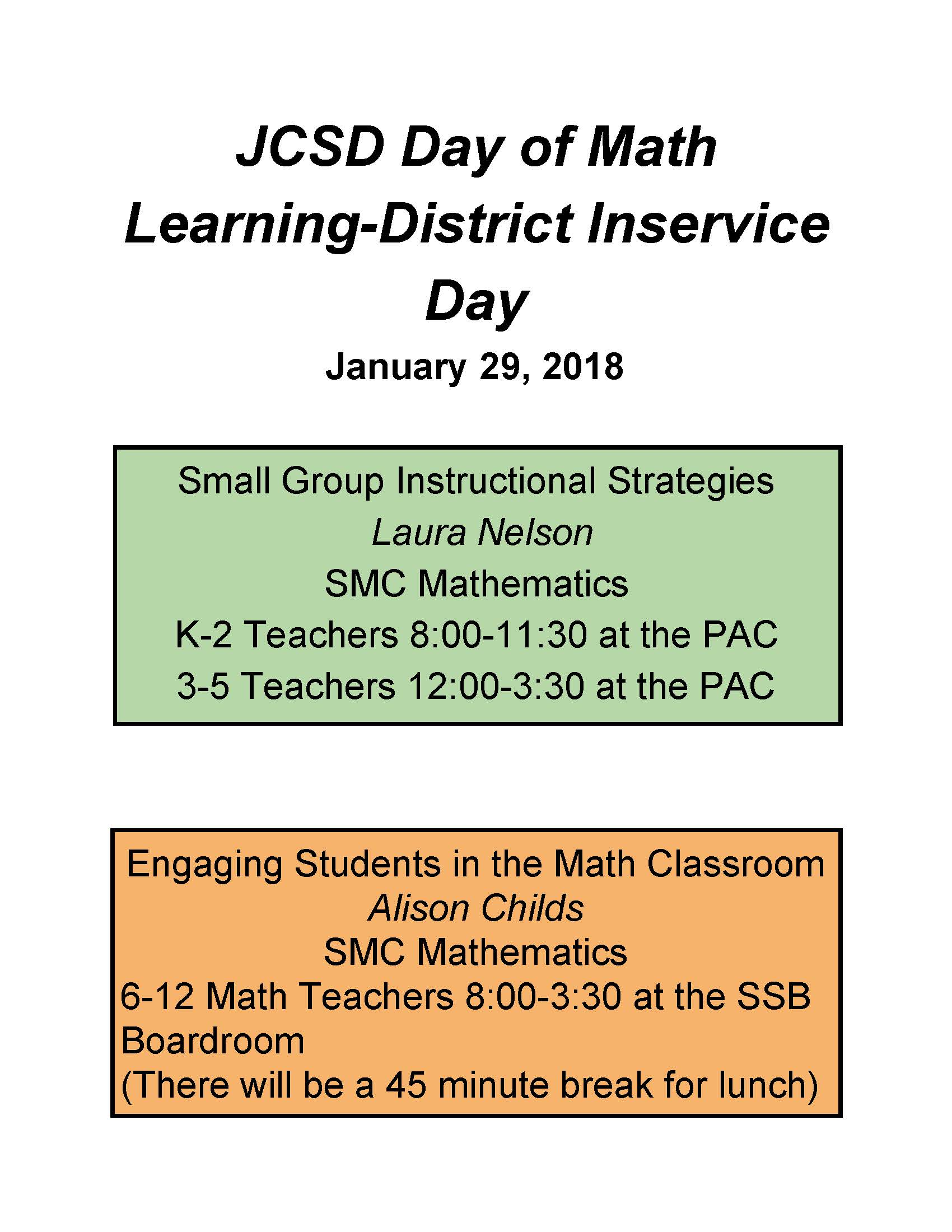 JCSD Day of Math Learning