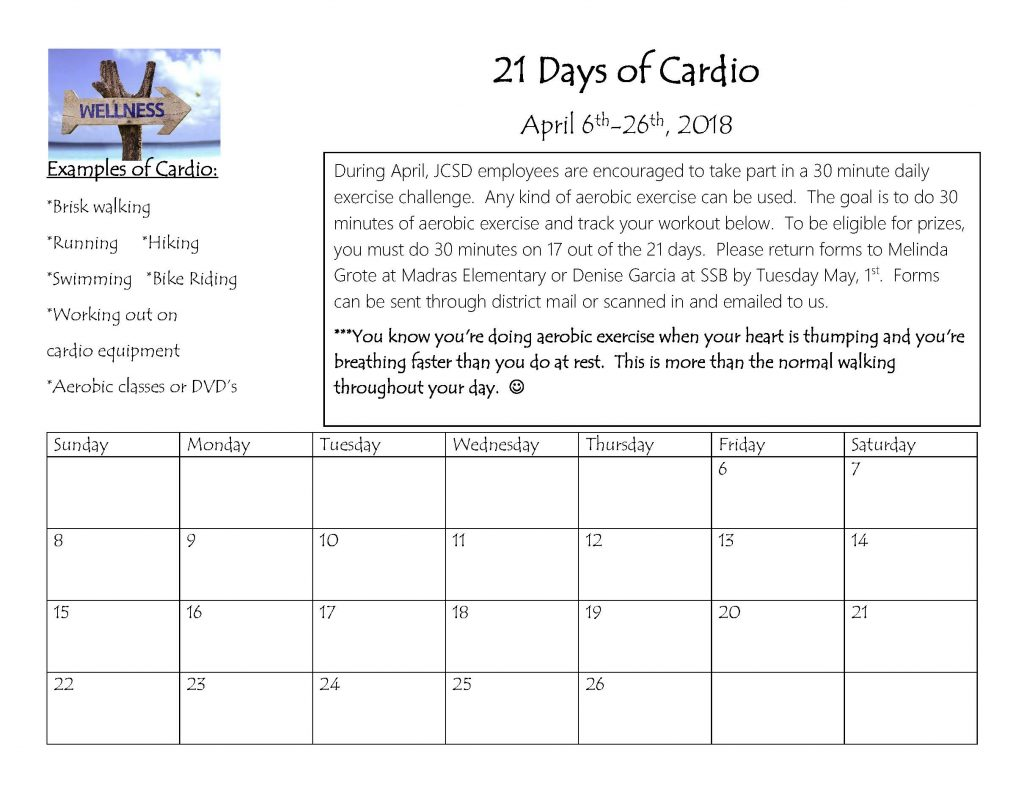 21 Days of Cardio challenge form 2018