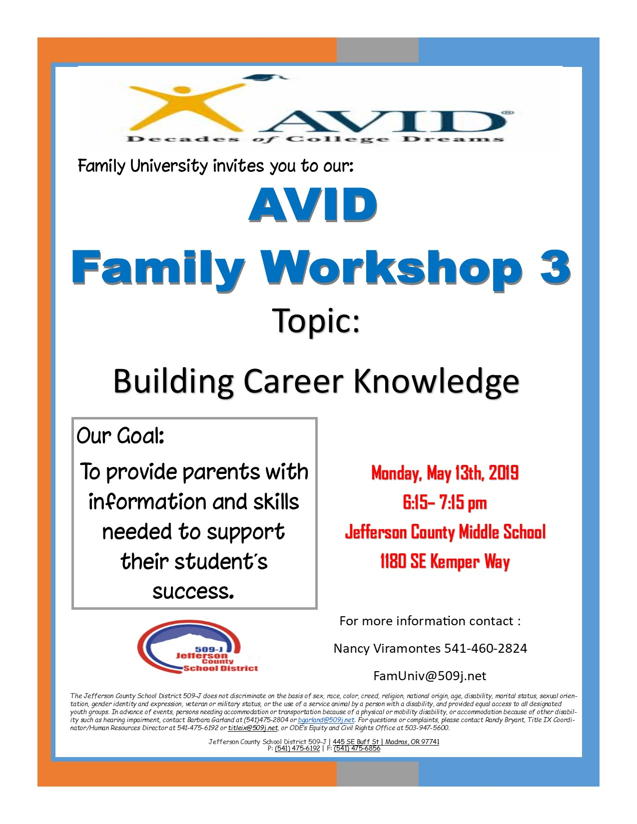 AVID Family Workshop 3 Flyer